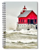 Stormy At Grand Haven Light Spiral Notebook