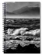 Stormy Coast New Zealand In Black And White Spiral Notebook