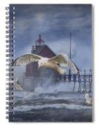 Stormy Weather At The Grand Haven Lighthouse Spiral Notebook