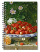 Strawberries In A Blue And White Buckelteller With Roses And Sweet Briar On A Ledge Spiral Notebook