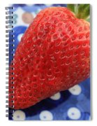 Strawberry On Blue Plate Spiral Notebook