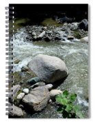Stream Water Foams And Rushes Past Boulders Spiral Notebook