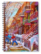 Street Hockey Game In Montreal Winter Scene With Winding Staircases Painting By Carole Spandau Spiral Notebook