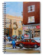 Street Hockey On Monkland Avenue Paintings Of Montreal City Scenes Spiral Notebook