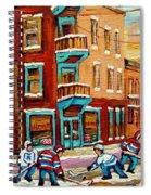 Street Hockey Practice Wilensky's Diner Montreal Winter Street Scenes Paintings Carole Spandau Spiral Notebook