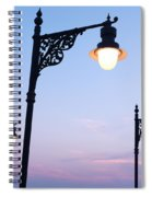 Street Lamps Over Sunset Sky Background Spiral Notebook