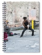 Street Musician Milan Italy Spiral Notebook