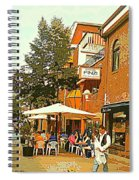 Street Musician Serenades The Terrace Umbrella Crowd At Ristorante Finzi Italienne Cafe Scene Spiral Notebook