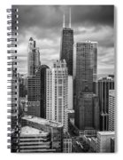 Streeterville From Above Black And White Spiral Notebook