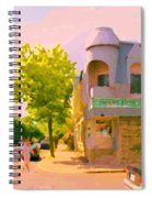 Streets Of Pointe St Charles Summer Scene Connies Pizza Rue Charlevoix Et Grand Trunk Carole Spandau Spiral Notebook