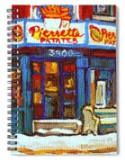 Streets Of Verdun Hockey Game At Famous Verdun Restaurant Pierrette Patates Montreal Hockey Art  Spiral Notebook