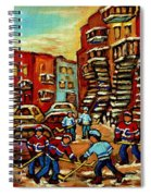 Streets Of Verdun Paintings He Shoots He Scores Our Hockey Town Forever Montreal City Scenes  Spiral Notebook