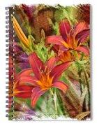 Striking Daylilies - Digital Art Spiral Notebook