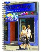 Strolling By The Blue Boy Frozen Yogurt Glacee Cafe Plateau Mont Royal City Scene Carole Spandau   Spiral Notebook