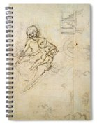 Studies For A Virgin And Child And Of Heads In Profile And Machines, C.1478-80 Pencil And Ink Spiral Notebook