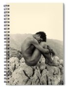 Study Of A Male Nude On A Rock In Taormina Sicily Spiral Notebook