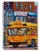 St.viateur Bagel And School Bus Montreal Urban City Scene Spiral Notebook