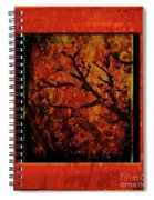 Stylized Cherry Tree With Old Textures And Border Spiral Notebook