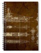 Submarine Blueprint Vintage On Distressed Worn Parchment Spiral Notebook
