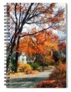 Suburban Street In Autumn Spiral Notebook