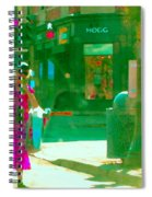 Summer Heatwave Too Hot To Walk Lady Hailing Taxi Cab At Hogg Hardware Rue Sherbrooke Carole Spandau Spiral Notebook