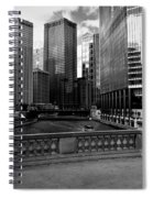 Summer On The Chicago River - Black And White Spiral Notebook