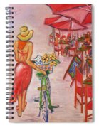 Summer Stroll By A Cafe Spiral Notebook