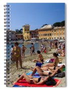 Sun Bathers In Sestri Levante In The Italian Riviera In Liguria Italy Spiral Notebook