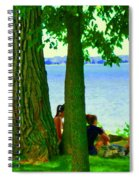 Sunday Picnic On The Lake Maple Trees At The Canal Pte Claire Montreal Waterscene Carole Spandau Spiral Notebook
