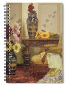 Sunflowers And Hollyhocks Spiral Notebook