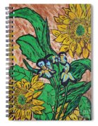 Sunflowers And Irises Spiral Notebook
