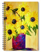Sunflowers In A Red Pot Spiral Notebook