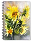 Sunflowers In Abstract Spiral Notebook