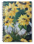Sunflowers In An Antique Country Pot Spiral Notebook