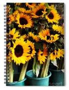 Sunflowers In Blue Bowls Spiral Notebook