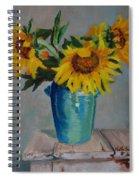 Sunflowers In Blue Vase Spiral Notebook