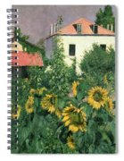 Sunflowers In The Garden At Petit Gennevilliers  Spiral Notebook