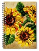 Sunflowers On Wooden Board Spiral Notebook