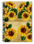 Sunflowers Pattern Country Field On Wooden Board Spiral Notebook