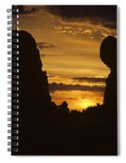 Sunrise Arches National Park With Balanced Rock Silhouetted Agai Spiral Notebook