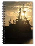 Sunrise At The Naval Base Silhouette Erie Basin Marina V1 Spiral Notebook
