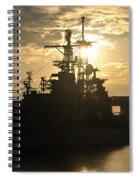 Sunrise At The Naval Base Silhouette Erie Basin Marina V3 Spiral Notebook