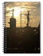 Sunrise At The Naval Base Silhouette Erie Basin Marina V4 Spiral Notebook