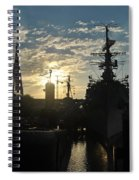 Sunrise At The Naval Base Silhouette Erie Basin Marina V5 Spiral Notebook