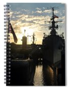 Sunrise At The Naval Base Silhouette Erie Basin Marina V6 Spiral Notebook