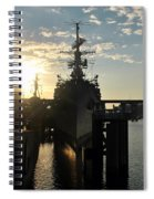 Sunrise At The Naval Base Silhouette Erie Basin Marina V7 Spiral Notebook