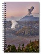 sunrise at vulcano Bromo with sea of sand vulcano Semeru with eruption Java Indonesia Spiral Notebook
