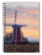 Sunrise Over Wooden Shoe Tulip Farm And Spiral Notebook