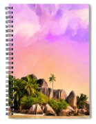Sunset At Anse Source Argent Seychelles Spiral Notebook