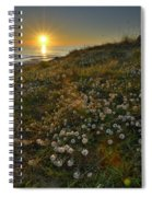 Sunset At The Beach  White Flowers On The Sand Spiral Notebook